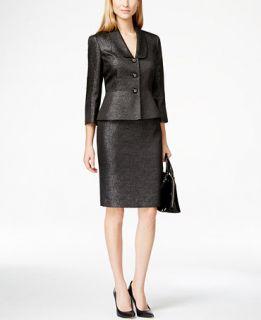 Kasper Textured Metallic Skirt Suit   Wear to Work   Women