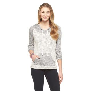 Lace Front Hacci Pullover Hoodie   Miss Chievous