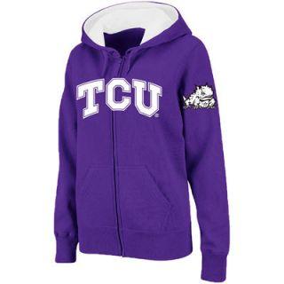 TCU Horned Frogs Stadium Athletic Womens Arched Name Full Zip Hoodie   Purple