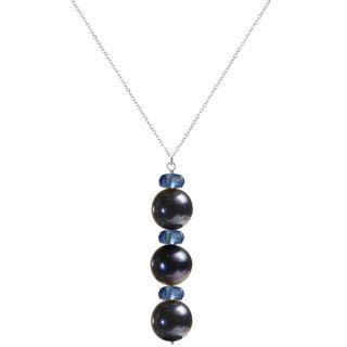 Ashanti Sterling Silver Black Pearl and Quartz Necklace (Sri Lanka