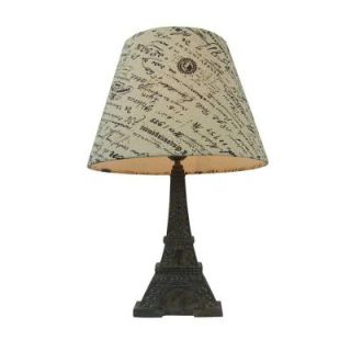 Simple Designs 16 in. Brown Slate Eiffel Tower Lamp with French Script Writing Printed Wheat Fabric Paris Shade LT3010 BSL