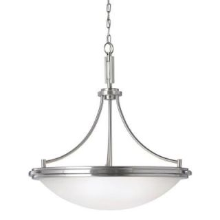 Sea Gull Lighting Winnetka 4 Light Brushed Nickel Fluorescent Pendant with Satin Etched Glass 65662BLE 962