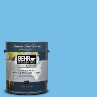 BEHR Premium Plus Ultra 1 gal. #550B 4 Costa Rica Blue Satin Enamel Interior Paint 775401