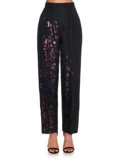 Selena metallic leopard print wool trousers  Joe Richards US