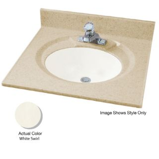 American Standard Astra Lav 25 in W x 19 in D White Swirl Cultured Marble Integral Single Sink Bathroom Vanity Top