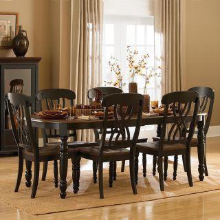 TRIBECCA HOME Mackenzie 7 piece Country Black Dining Set   12246635