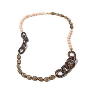 """Dea Peach and Brown Quartz and Wood Gold Plated Sterling Silver 40"""" Necklace   7871571"""