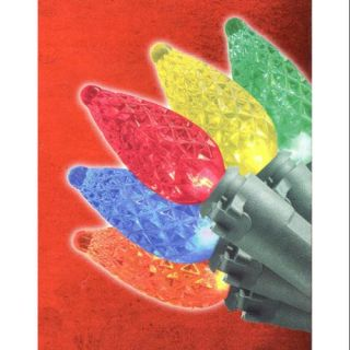 Set of 50 Multi Color C3 Christmas Lights   Green Wire