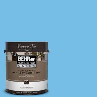 BEHR Premium Plus Ultra 1 gal. #550B 4 Costa Rica Blue Flat Exterior Paint 485401