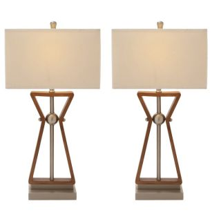 Casa Cortes Linear Design 2 outlet Wood and Steel Table Lamps (Set of