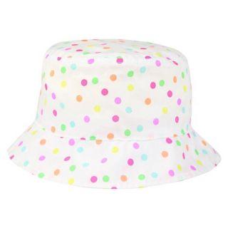 Toddler Girls' Polka Dot Bucket Hat   White