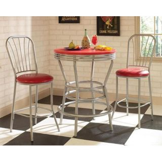 Home Styles 5994 359 Soda Shoppe Bar Table and Two Bar Stools with Backs Red Silver