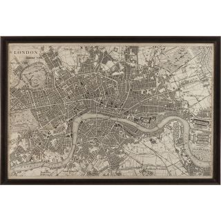 Bassett Mirror 9900 262EC Belgian Modern Vintage Map of London Art in Black
