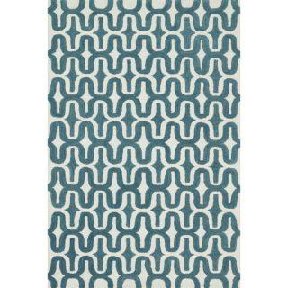 Hand tufted Tatum Ivory/ Teal Wool Rug (79 x 99)