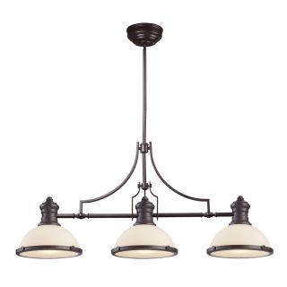 Elk Lighting 66635 3 Chadwick 3 Light Island in Oiled Bronze and White Glass