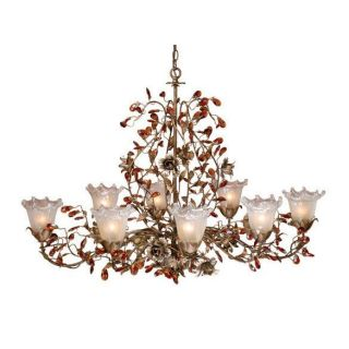 Vaxcel Lighting OL CHU008AA Ophelia 8 Light Chandelier in Autumn Patina with Toffee Ice Glass