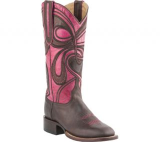 Womens Lucchese Since 1883 M4831.WF Square Toe Fowler Heel Boot   Espresso/Rose Hypnotic Swirl
