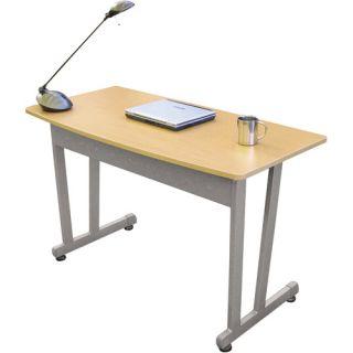 "Linea Italia Massima Line Bow Front Desk, 47 1/4""W x 22 7/8""D x 29 1/2""H, Honey"