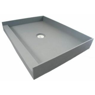 Fin Pan PreFormed 34 in. x 48 in. Single Threshold Shower Base in Gray with Center Drain PF 111