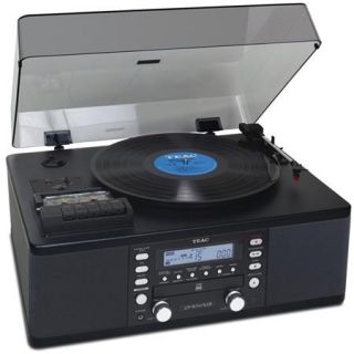 TEAC Turntable System with CD Recorder, Cassette, AM/FM Tuner, Black LPR 550USB