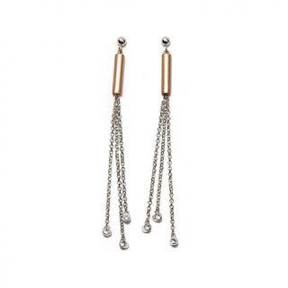 """La dea Bendata """"Fortuna"""" 2 Tone Tassel Drop Sterling Silver Earrings   7927946"""