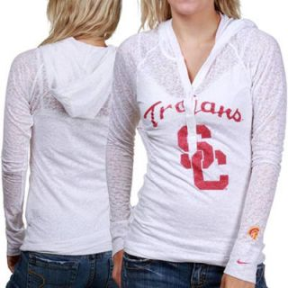 Nike USC Trojans Ladies White Push Through Burnout Premium Long Sleeve Hooded T shirt