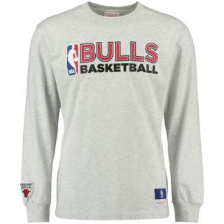 Chicago Bulls Mitchell & Ness Team Issued Long Sleeve T Shirt   Heather Gray