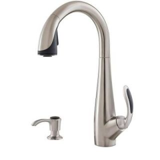 Pfister Nia Single Handle Pull Down Sprayer Kitchen Faucet with Soap Dispenser in Stainless Steel GT529 NIS