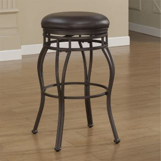 American Woodcrafters B1 102 34L Villa Tall Bar Stool in Taupe Grey with Russet Brown Bonded Leather