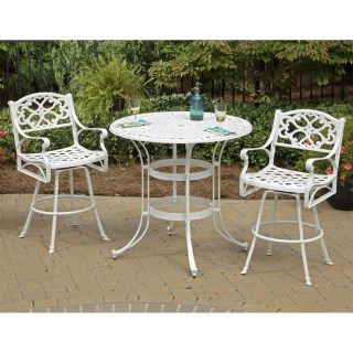 Home Styles 5552 359 Biscayne 3 Piece Outdoor Bistro Table and 2 Stools Set in White