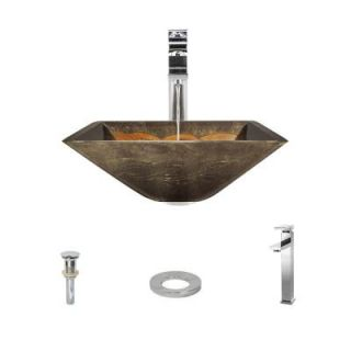 MR Direct Glass Vessel Sink in Gold and Green Foil Undertone with 721 Faucet and Pop Up Drain in Chrome 638 721 C ENS