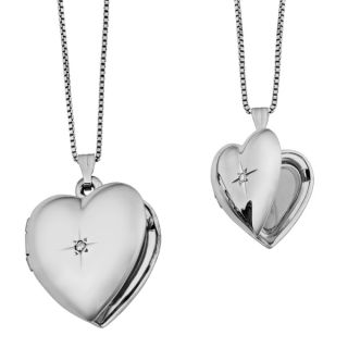 Fremada Diamond Accent Mother and Daughter Set of Two Heart Locket