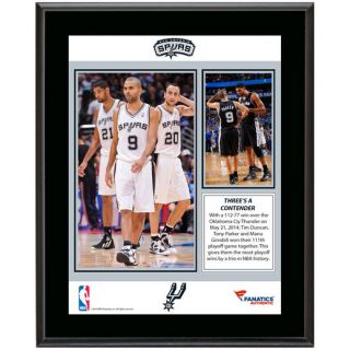 Fanatics Authentic Tim Duncan, Manu Ginobili, and Tony Parker San Antonio Spurs 10.5 x 13 Most Career Playoff Wins By a Trio Sublimated Plaque