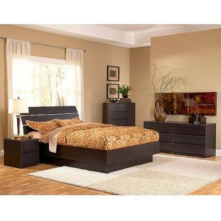 Laguna 4 Piece Queen Bed, Night Stand, Dresser and Chest Set, Lacquered Espresso