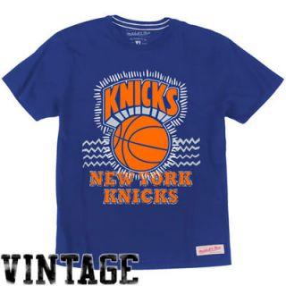 Mitchell & Ness New York Knicks Hardwood Classics Tribal Zigzag T Shirt   Royal Blue