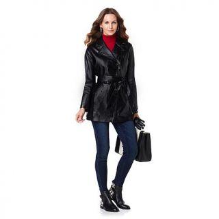 "Hal Rubenstein The ""Barbara"" Leather Trench Coat   7562306"
