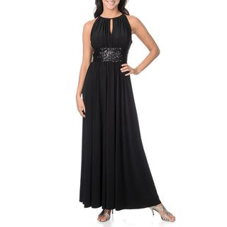 Richards Womens Gown with Sequin Waist and Keyhole Neckline