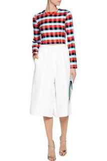Cara cropped plaid stretch knit top  Tanya Taylor