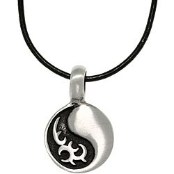 Carolina Glamour Collection Pewter Unisex Tribal Yin Yang Necklace