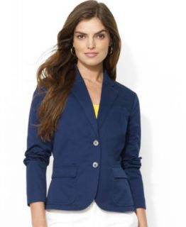 Lauren Ralph Lauren Three Button Logo Emblem Linen Blazer