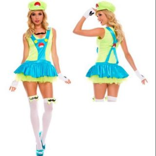 Womens Green Playful Plumber Luigi Super Mario Costume