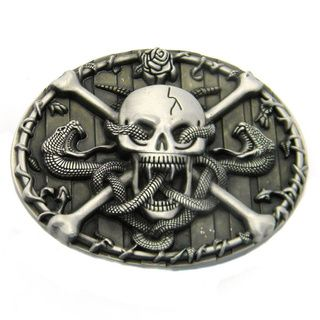 Skull and Crossbones with Snakes Belt Buckle   Shopping