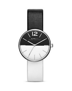 MARC BY MARC JACOBS Peggy Black & White Leather Strap Watch, 36mm