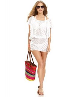 Jessica Simpson Cover Up, Flutter Sleeve Crochet Blouson Dress