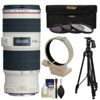Canon EF 70 200mm f/4L IS USM Zoom Lens with Tripod + Ring Mount + 3 Filters + Kit 3 UV/CPL/ND8 Filters for EOS 6D, 70D, 5D Mark II III, Rebel T3, T3i, T4i, T5, T5i, SL1 DSLR Cameras