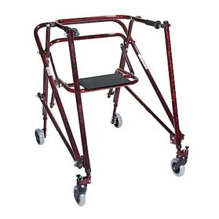 Wenzelite Nimbo Rehab Lightweight Posterior Posture Walker with Seat, Flame Red, Adult