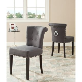 Safavieh En Vogue Dining Carrie Grey Polyester Side Chairs (Set of 2
