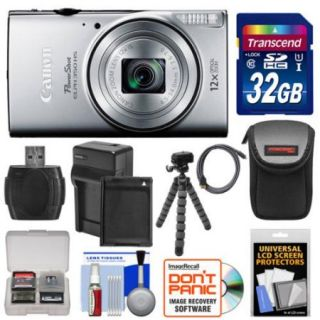 Canon PowerShot Elph 350 HS Wi Fi Digital Camera (Silver) with 32GB Card + Battery & Charger + Case + Tripod + Kit