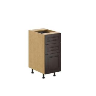 Fabritec 15x34.5x24.5 in. Bern 3 Drawer Base Cabinet in Maple Melamine and Door in Dark Brown B3D15.M.BERNE