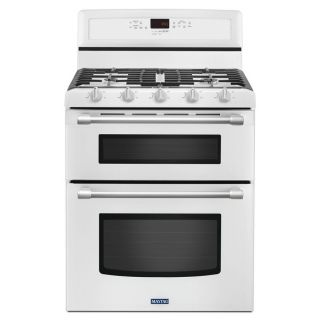 Maytag Gemini 30 in 5 Burner 3.9 cu ft/2.1 cu ft Self Cleaning Double Oven Gas Range (White)